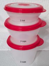 Tupperware Stuffables Bowls Set 1,2,3 cup Award Winning Flex Seals Red New