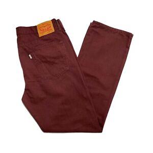 Levi's 514 White Tab Classic Fit Straight Leg Men's Burgundy Trousers W36 x L32