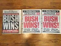 2 New York Post City Newspaper BUSH WINS before he actually wins election RARE!!