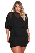 Ladies White Black Chiffon Lagen Layered Plus Size Bodycon Mini Dress 14 16 18
