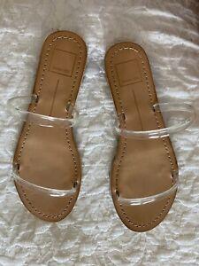 Dolce Vita Womens Darla Banded Slides Sandals Clear Flat Slip On 8 New