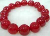 Natural 10mm Red Jade Round Gems Beads Bracelet AAA 7.5 inches