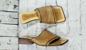 Enzo Angiolini Khaki Tan Slip On Wedge Sandals WOMENS SIZE 5.5