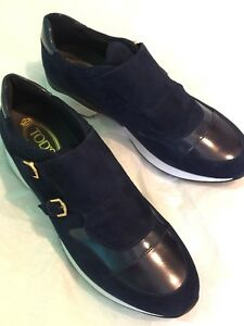 NEW NWT TOD'S BLUE SUEDE PATTERN LEATHER SNEAKER HIGH HEEL SHOE US MEN 8 ITALY