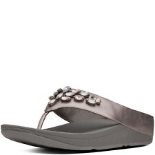 NEW FitFlop Tiararama Thong Sandals - Pewter Leather, Women Size 11, $100