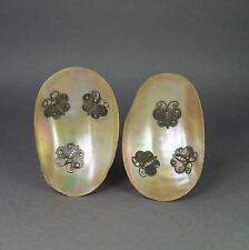 Qing Chinese Export Silver Mother of Pearl Abalone Dish Pair Circa 1880