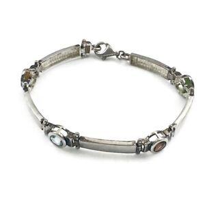 Retro 925 Sterling Multi Stone Color Bracelet Glass  Artisan Elegant Link Line