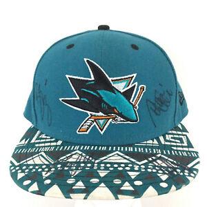 San Jose Sharks Autographed Hat New Era NHL Hockey Snapback Baseball Trucker Cap