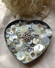 Wedding craft button/embellishment mix x150 white, cream, clear & metallic