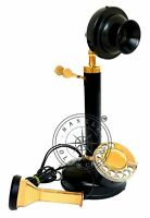 Antique Black Pipe Brass Candlestick Phone Vintage Rotary Old Telephone Corded