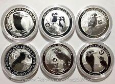 SET of SIX Australia Kookaburra LUNAR PRIVY Silver Coins 2012-13-14-15-16-2017