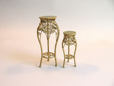 dollhouse doll house  miniature METAL GOLDEN PLANT STAND SET
