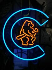 "Chicago Cubs Retro Logo Neon Lamp Sign 20""x16"" Bar Light Beer Glass Display"