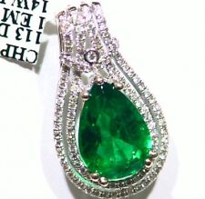 3.80CT 14K Gold  Natural Emerald Round White Diamond Vintage Engagement Necklace