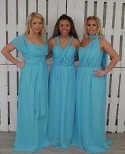 Turquoise Chiffon Infinity Multi way Convertible Bridesmaid Prom Maxi Dress