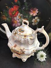 Antique Staffordshire Hand Painted Tea Pot Teapot Pat 267 Old English Porcelain