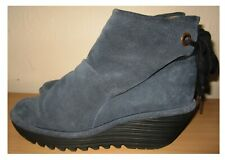 FLY LONDON DUSTY BLUE SUEDE WEDGE ANKLE BOOTS SIZE 8 UK 41 EU