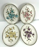 Vintage Lefton #2756 Four White Bisque Oval Plaques Raised Flowers Shabby Chic