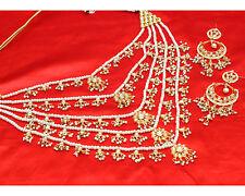 Indian Bollywood Design Rani Haar Gold Plated Kundan Bridal Necklace Set Jewelry