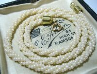 "Pretty VINTAGE Cream GLASS BEAD 3 Row Rope Costume Jewellery 16.75"" NECKLACE"