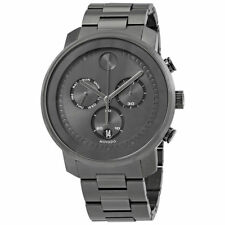 New Movado Bold Chronograph Gunmetal Dial Stainless Steel Men's Watch 3600486