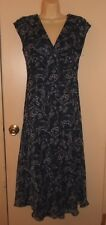Chaps  Woman's Size 8 Navy Blue Floral Print Chiffon Dress Slim Fit Fully Lined