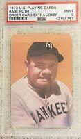 1973 U.S. Playing Cards Babe Ruth Extra Joker Yankees HOF PSA MINT 9