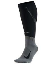 NIKE ELITE COMPRESSION OVER THE CALF RUNNING SOCKS - BLACK UK3.5-5 / 7-8.5