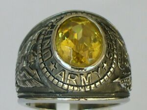 Stainless Steel United States Army Military November Yellow Men Ring Size 7-15
