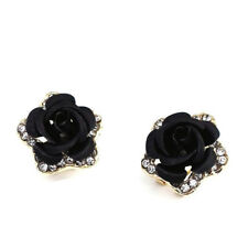 Women Five-pointed Star Rose Earrings Rhinestone Crystal Earrings Jewellery D