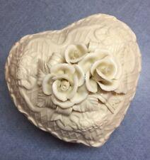 Vintage Ivory Porcelain Heart Shaped Trinket Box w/ lid Applied Flowers & Ribbon