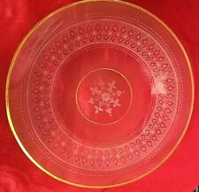"SUPERB Vintage Etched and Cut Glass Plate - 18K DOLD TRIM - 6.5"" IN DIAGONAL"