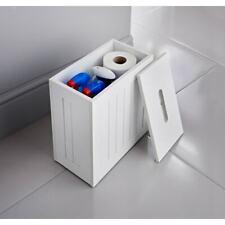 Bathroom Storage Caddie Unit Shampoo Toilet Roll Paper Utensils Tidy Box - White