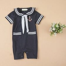 Baby Boy Girl Sailor Carnival Fancy Dress Costume Outfit Suit+HAT Set 6-24M