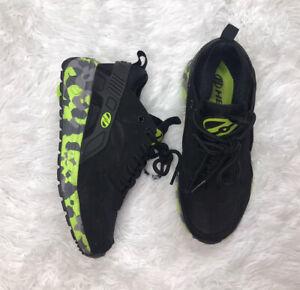 Heelys Force Black/Neon Green Camo Skate Shoes Boys Size 2 Youth HE100095 EUC
