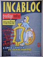 PUBLICITÉ DE PRESSE 1952 INCABLOC PROTÈGE VOTRE MONTRE CONTRE CHOC - JEAN EFFEL