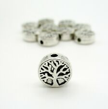 10 Tree Spacer Antique Silver Beads, 9mm Tree Metal Beads, Beads   (G1403)