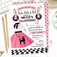 DIGITAL FILE - 50's Sock Hop Invitation, Rock and Roll Party, 50s - U PRINT