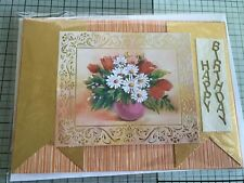 BIRTHDAY, HANDMADE GOLD EMBOSSED VASE OF COLORFUL TULIPS & DAISIES CARD