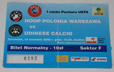 Ticket for collectors EC Polonia Warszawa - Udinese Calcio 2000 Poland Italy