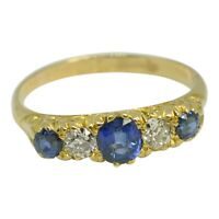 Antique Victorian Sapphire Diamond 18ct Gold Band Ring
