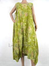 NEW Italian Linen Oversize Lagenlook Floral Plus Parachute Maxi Dress