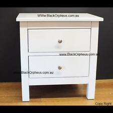 White Bedside Table, Small Chest Drawers, White Timber Bedside, 2 Drawer