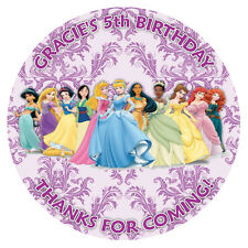 15x Personalised Disney Princesses 50mm Round Stickers Thank You Seal Favours