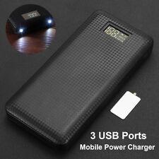 3 Puerto USB LED Power Bank Batería Externa Cargador Caja Carcasa 5V 2A 7x 18650