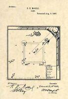 Official 1887 Baseball Game US Patent Art Print- Vintage Original Antique 172