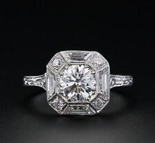 Certified 1.35ct Near White Moissanite Art Deco Engagement Ring 14K White Gold