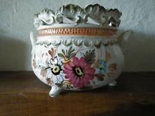 Cache Pot trépied ajouré - Fleurs peint à la main & Made in Italy - Faïence