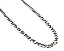 Men's Oxidised Curb Link Chain Necklace - Sterling Silver