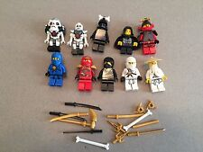 LEGO NINJAGO MINIFIG LOT of 10 MINIFIGS 4 Ninjas Weapons Lot M361